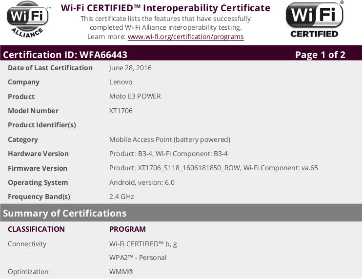 Moto E3 Power Receives WiFi certification, Likely to Have  3500mAh battery