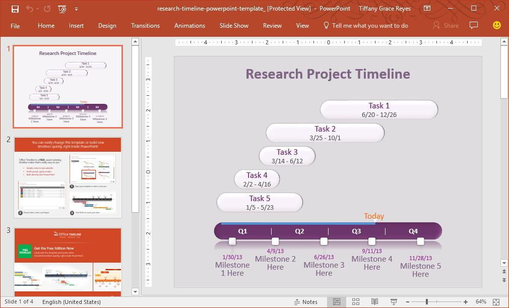 Fppt free powerpoint templates tech with geeks 0023 research project timeline powerpoint template toneelgroepblik Image collections
