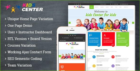Kidcenter bootstrap templates
