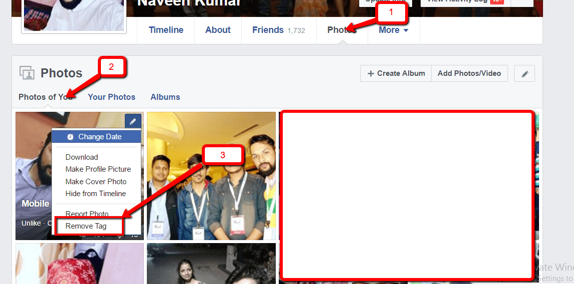 Remove Facebook Photo tag